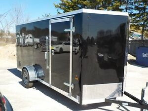 "Enclosed 6 x 14 + 18"" Vnose Trailer With Rear Ramp"