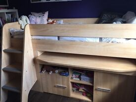 Cabin bed with pull out desk and triple wardrobe