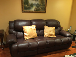 Brown/espresso color leather sofa couch
