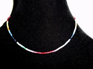 18K White Gold Ruby, Sapphire & Emerald Necklace
