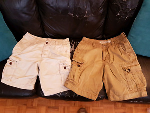Two Pairs of Cargo Shorts - AE & Hollister