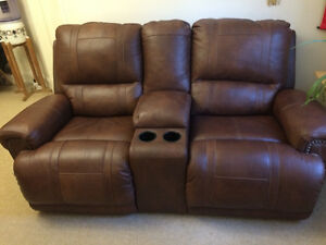 Leather powered loveseat recliner