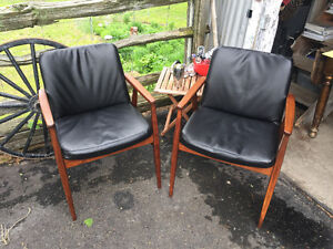 4 mid century teak and leather chairs just refinished