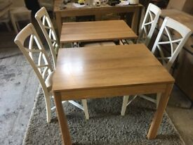 Solid Oak Extending Table & 4 Chairs Kitchen Dining Set