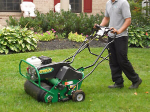 lawn aeration,lawn mowing,grass cutting,fall clean up.