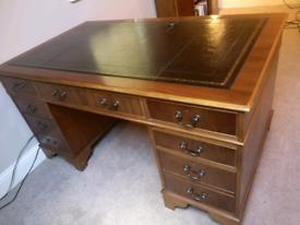 Captains desk, solid wood pedestal desk, bookcase