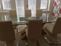 Stunning Solid Oak/Glass Dining Table & 10 Leather Z Chairs