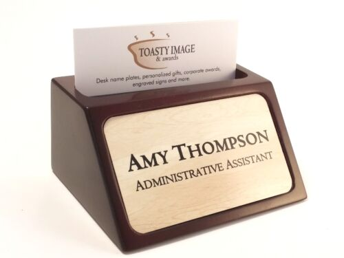 Personalized business card holder for desk mahogany with wood look alum insert