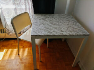 Marble top Ikea table and chair for sale