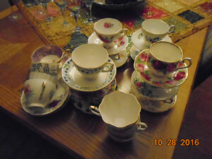 Bone china cups and saucers.