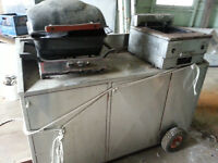 Portable BBQ and Fryer cart