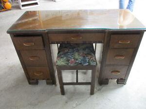 Vintage wood make up/vanity table/mirror