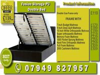 DOUBLE , SINGLE , SMALL DOUBLE , KINGSIZE LEATHER STORAGE Bed WITH Mattress