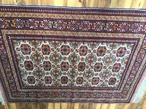 Handknotted silk and wool original design rug