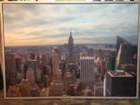 New York picture in silver frame 140x100cm