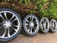 "Genuine Audi A4 S4 18"" S Line Alloy Wheels & Tyres A3 A6 VW SEAT 5x112"