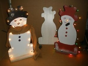 Lighted Wooden Snowmen for a DIY Project, Pattern Included London Ontario image 1