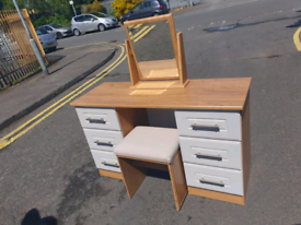 63. Grey and walnut dressing table