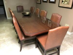 Large Dining Room Table Maple with 10 Leather Chairs