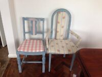 x2 vintage shabby chic chairs - perfect for painting upcycling