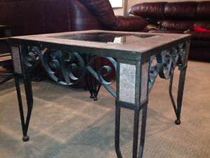 Square wrought iron & glass 3 pc. tables