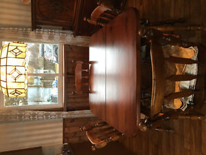 Antique side table and China cabinet dining room table