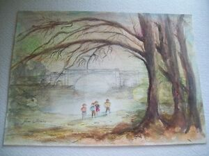 VINTAGE ORIGINAL WATERCOLOUR ENGLISH CHILDREN WITH BRIDGE