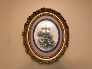 Floral paper tole wall hanging