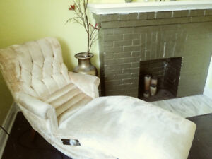 Vintage Golden Yellow Electric Reclining Chaise Lounge