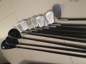Golf clubs - right handed irons and woods