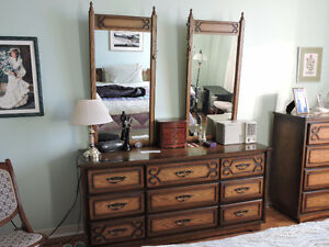 Vintage all wood Bedroom Dresser with two Mirrors