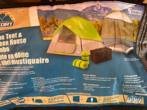 4 man tent , screen tent and two sleeping bags package