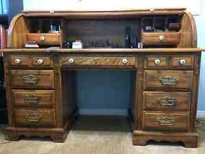 Sold oak rool top desk