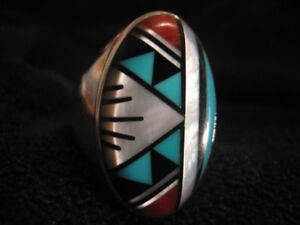 Sterling silver oval inlaid ring