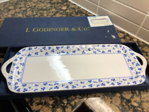 Vintage I. Godinger&Co Blue Belle Serving Tray with Gold Accents
