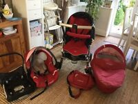 Maxi-Cosi Travel System in Red and Black