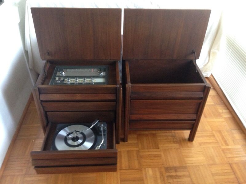 GE End table stereo & matching record storage/extension speaker NO SHIPPING
