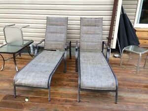 2 outdoor chaise loungers