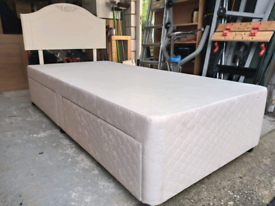 Single 2 drawer divan bed with headboard
