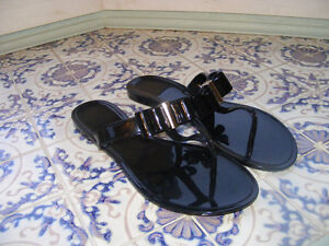 Faux Black Patent Leather Wide Sandals New