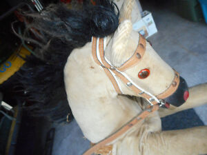 antique wooden straw glass eye corderoy rocking horse