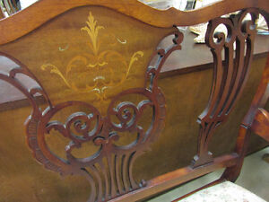 VICTORIAN SETTEE, LOVE SEAT, WITH INLAID WOOD DECORATION