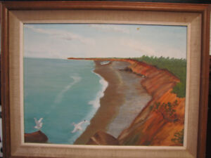 Large Seaside Painting with Frame