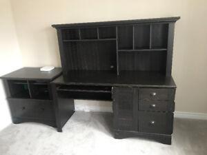 Black Desk and Filing Cabinet