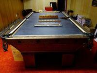 Antique oak pool table