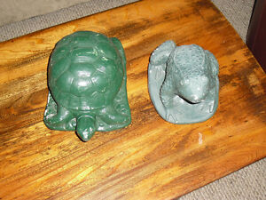 Vintage turtle & frog water fountain well ornaments spouts heads