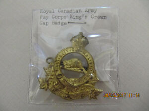 Royal Canadian Army Pay Corps Kings Crown Cap Badge 1914-1945