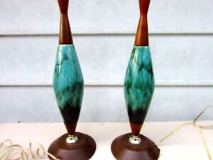Pair Retro, Eames, Mid Century Wood & Green Drip Glaze Lamps