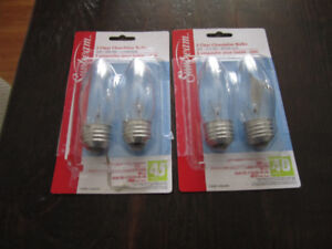 4 Clear Chandelier Bulbs - 120V-40W