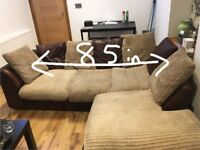 Material corner sofa + chair, excellent condition